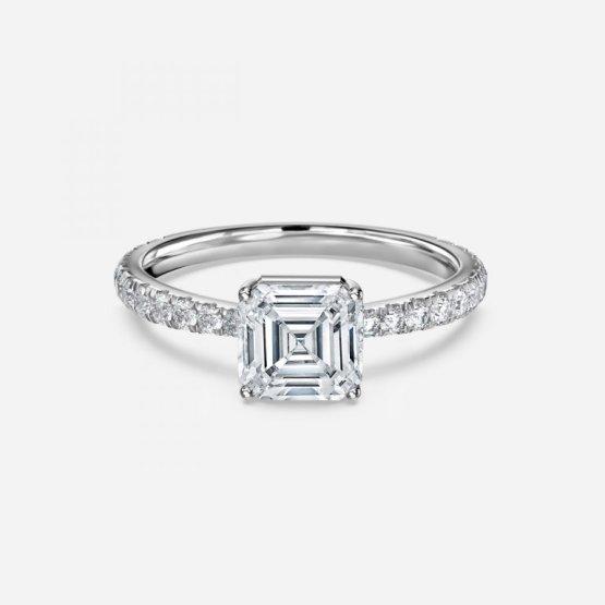 asscher diamond engagement ring gold band