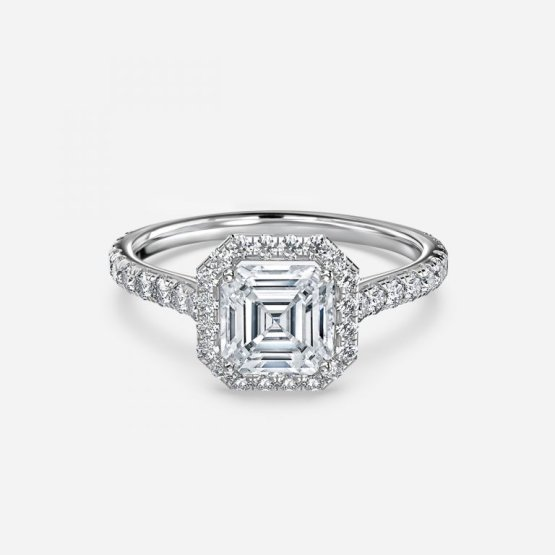 asscher halo ring
