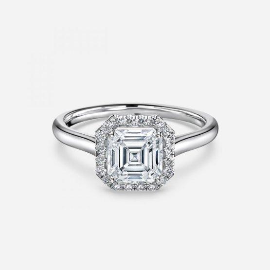asscher shaped halo engagement ring